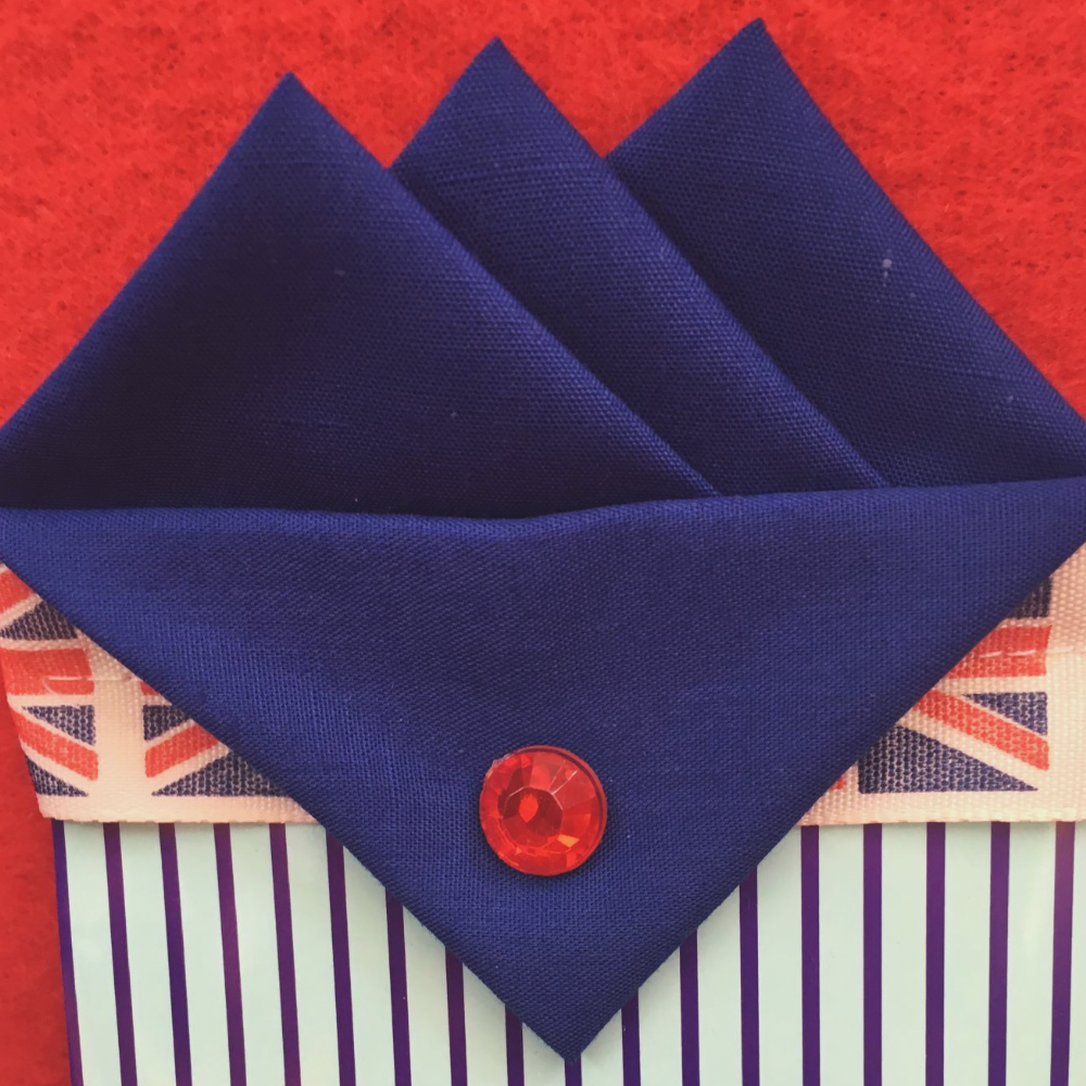 Blue (Royal Blue)Three Point Pocket Hankie & pin